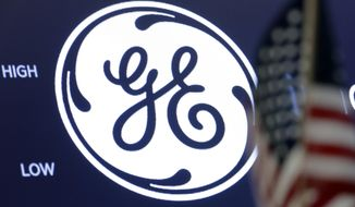 FILE - In this June 26, 2018, file photo the General Electric logo appears above a trading post on the floor of the New York Stock Exchange. General Electric Co. reports financial results on Wednesday, July 31. (AP Photo/Richard Drew, File)