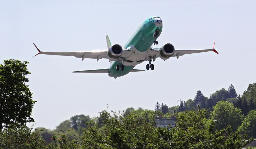 FILE - In this May 8, 2019, file photo a Boeing 737 MAX 8 jetliner being built for Turkish Airlines takes off on a test flight in Renton, Wash. On Wednesday, July 31, members of a Senate subcommittee clashed with Federal Aviation Administration officials, contending the agency was too deferential to Boeing in approving the 737 Max airliner. (AP Photo/Ted S. Warren, File)