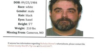 FILE - In this document provided by the Clinton County Missouri Sheriff's Department shows a missing poster for Nicholas Diemel. Nicholas and his brother Justin Diemel, who owned Diemel's Livestock in Bonduel, Wis., have been missing since July 21, 2019, when they were in northwest Missouri to check cattle for their business. His wife Lisa Diemel is asking a judge to oversee the men's business. (Clinton County Missouri Sheriff's Department via AP, File)