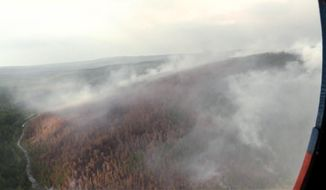 This image made from video provided by RU-RTR Russian television channel shows a view of a forest fire in the Boguchansky district of the Krasnoyarsk region, Russia Far East, Wednesday, July 31, 2019. Russian President Vladimir Putin has ordered Russia's military to join efforts to fight forest fires that have engulfed nearly 30,000 square kilometers (11,580 sq. miles) of territory in Siberia and the Russian Far East. (RU-RTR Russian Television via AP)