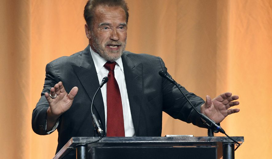 Host Arnold Schwarzenegger addresses the audience at the 2019 Hollywood Foreign Press Association's Annual Grants Banquet at the Beverly Wilshire Hotel, Wednesday, July 31, 2019, in Beverly Hills, Calif. (Photo by Chris Pizzello/Invision/AP)