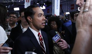 Former Housing and Urban Development Secretary Julian Castro answers questions after the second of two Democratic presidential primary debates hosted by CNN Wednesday, July 31, 2019, in the Fox Theatre in Detroit. (AP Photo/Carlos Osorio)