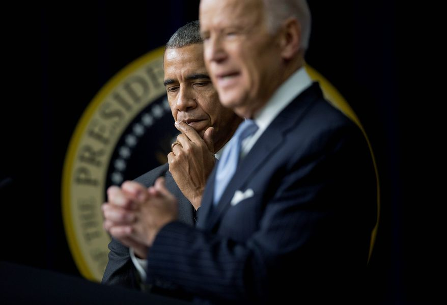 Democratic presidential candidate Joseph R. Biden took some shots at the presidential legacy of Barack Obama. (Associated Press) ** FILE **