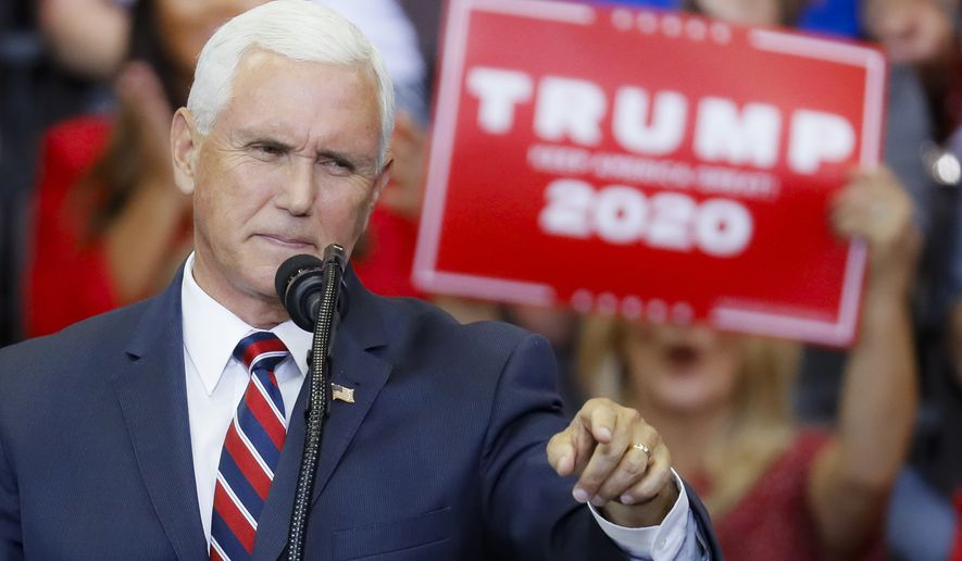 Vice President Mike Pence speaks at a campaign rally at U.S. Bank Arena, Thursday, Aug. 1, 2019, in Cincinnati. (AP Photo/John Minchillo) **FILE**