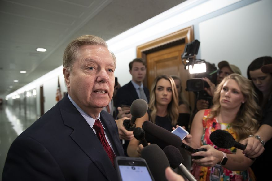 Senate Judiciary Committee Chairman Lindsey Graham, R-S.C., speaks to reporters on Capitol Hill in Washington, Thursday, Aug. 1, 2019. (AP Photo/J. Scott Applewhite)