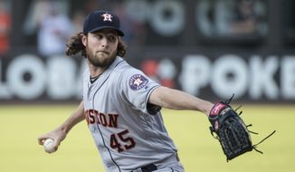 Houston Astros starting pitcher Gerrit Cole throws to a Cleveland Indians batter during the first inning of a baseball game in Cleveland, Thursday, Aug. 1, 2019. (AP Photo/Phil Long)