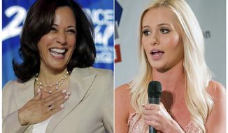 This combination of photos shows Democratic presidential candidate, Sen. Kamala Harris, D-Calif., at the 25th Essence Festival in New Orleans on  July 6, 2019, left, and Fox News personality Tomi Lahren at Politicon in Pasadena, Calif. on Aug. 30, 2017.  Lahren is apologizing for an offensive tweet directed at Harris. (AP Photo)