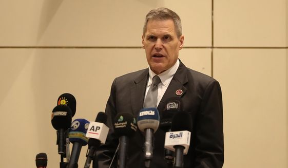 Matthew Tueller, the U.S. ambassador to Iraq, addresses a gathering to commemorate five years since IS carried out coordinated attacks on a number of Yazidi Iraqi villages, in Baghdad, Iraq, Thursday, Aug. 1, 2019. (AP Photo/Hadi Mizban) ** FILE **
