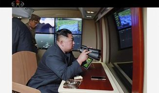 In this image made from video of a still image broadcasted by North Korea's KRT on Thursday, Aug. 1, 2019, North Korean leader Kim Jong-un, equipped with binoculars, supervises a rocket launch test. North Korea said Thursday, Aug. 1, leader Kim supervised the first test firing of a new multiple rocket launcher system that could potentially enhance its ability to strike targets in South Korea and U.S. military bases there.(KRT via AP Video)
