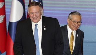 U.S. Secretary of State Mike Pompeo, left, and Thailand's Foreign Minister Don Pramudwinai, get ready for ASEAN-U.S. meeting on the sidelines of the Association of Southeast Asian Nations (ASEAN) Foreign Ministers' meeting in Bangkok, Thailand, Thursday, Aug. 1, 2019. (AP Photo/Sakchai Lalit)