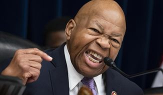 """In this file photo from Tuesday, April 2, 2019, House Oversight and Reform Committee Chair Elijah Cummings, D-Md., leads a contentious meeting to call for subpoenas during a hearing on Capitol Hill in Washington. In the latest rhetorical shot at lawmakers of color, Trump this weekend vilified Cummings' majority-black Baltimore district as a """"disgusting, rat and rodent infested mess"""" where """"no human being would want to live."""" (AP Photo/J. Scott Applewhite, file)"""