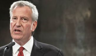 New York Mayor Bill de Blasio speaks at a news conference about police officer Daniel Pantaleo, Friday, Aug. 2, 2019 in New York.  (AP Photo/Mark Lennihan)
