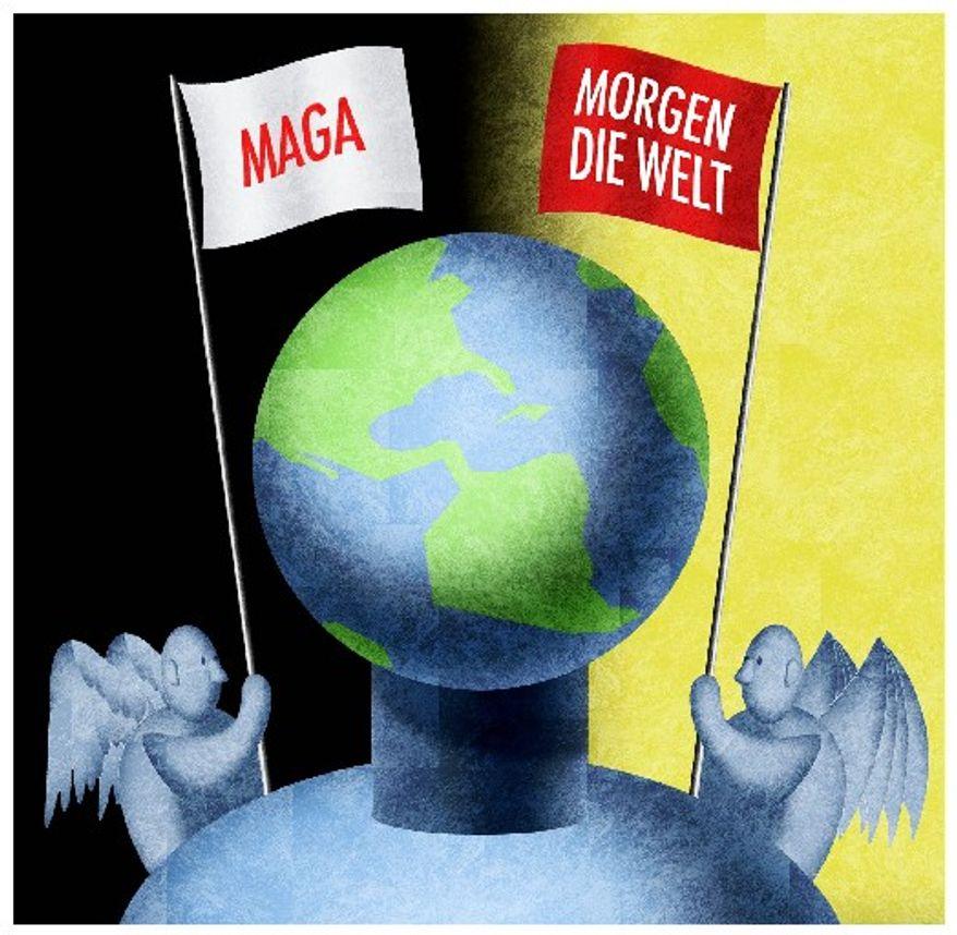 Illustration on nationalism vs. imperialism by Alexander Hunter/The Washington Times