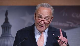 Senate Minority Leader Chuck Schumer, D-N.Y., talks to reporters at the Capitol in Washington, Thursday, Aug. 1, 2019. (AP Photo/J. Scott Applewhite) ** FILE **