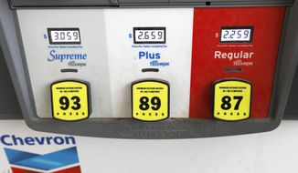 FILE - In this June 26, 2019, file photo a Chevron gas pump displays the various types of fuel and their prices at this Flowood, Miss., station. Chevron Corp. reports financial results Friday, Aug. 2. (AP Photo/Rogelio V. Solis, File)