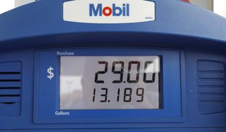 FILE - In this June 26, 2019, file photo a Mobil gas pump displays the various types of fuel and their prices at this Flowood, Miss., station. Exxon Mobil Corp. reports financial results Friday, Aug. 2. (AP Photo/Rogelio V. Solis, File)