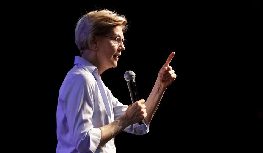Democratic presidential candidate Sen. Elizabeth Warren, D-Mass., speaks during a town hall campaign stop, Thursday, Aug. 1, 2019, in Tempe, Ariz. (AP Photo/Matt York)