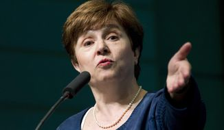 FILE - In this April 18, 2018, file photo, the World Bank CEO Kristalina Georgieva speaks at the World Bank/IMF annual spring meeting in Washington. European governments have decided to put forward Georgieva from Bulgaria as their candidate to replace Christine Lagarde as head of the Washington-based International Monetary Fund. (AP Photo/Jose Luis Magana)