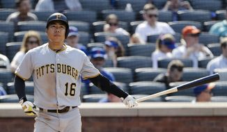 Pittsburgh Pirates' Jung Ho Kang, of Korea, reacts after striking out during the eighth inning of a baseball game against the New York Mets Sunday, July 28, 2019, in New York. (AP Photo/Frank Franklin II)