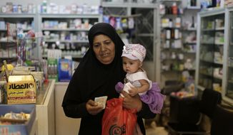 In this Wednesday, July 24, 2019 photo, a Syrian woman leaves a pharmacy after buying medicine in the Syrian capital, Damascus. Syrians say it's even harder now to make ends meet than it was during the height of their country's civil war because of intensified U.S and European sanctions. Prices have leaped because of restrictions on oil imports, the value of the currency has plunged in recent months. Most of the country is now below the poverty line, earning less than $100 a month. (AP Photo/Hassan Ammar)