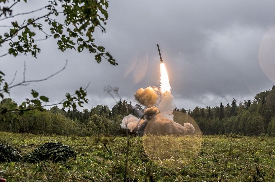 This undated file photo provided Tuesday, Sept. 19, 2017, by Russian Defense Ministry official web site shows a Russian Iskander-K missile launched during a military exercise at a training ground at the Luzhsky Range, near St. Petersburg, Russia. A landmark arms control treaty that President Ronald Reagan and Soviet leader Mikhail Gorbachev signed three decades ago is dead. The U.S. and Russia both walked away from the deal on Friday, Aug. 2, 2019. (Russian Defense Ministry Press Service via AP/File)