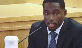 Former Wisconsin football player Quintez Cephus testifies during his trial, Friday Aug. 2, 2019, in Madison, Wis. Cephus has told jurors that the two women he is accused of sexually assaulting wanted to have sex with him.  (Ed Treleven/Wisconsin State Journal via AP)