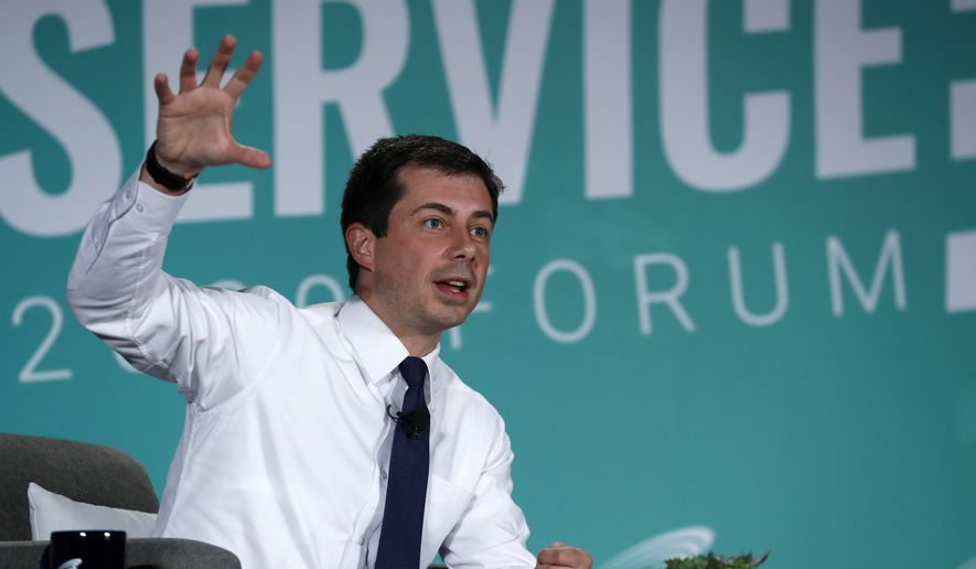 Democratic presidential candidate Pete Buttigieg, mayor of South Bend, Ind., reflects on the shooting in El Paso, Texas, during an appearance at an American Federation of State, County and Municipal Employees public service forum in Las Vegas, Saturday, Aug. 3, 2019. (Steve Marcus/Las Vegas Sun via AP)
