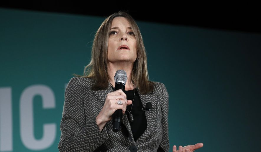 Democratic presidential candidate Marianne Williamson speaks during a public employees union candidate forum Saturday, Aug. 3, 2019, in Las Vegas. (AP Photo/John Locher) ** FILE **