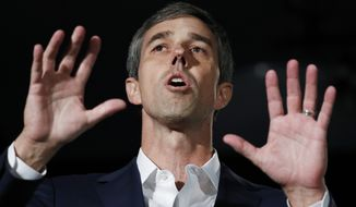 Democratic presidential candidate and former Texas Rep. Beto O'Rourke speaks during a public employees union candidate forum Saturday, Aug. 3, 2019, in Las Vegas. (AP Photo/John Locher)