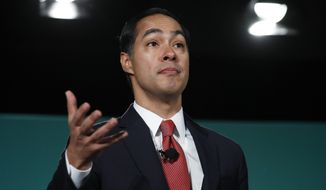 Former Housing and Urban Development Secretary and Democratic presidential candidate Julian Castro speaks during a candidate forum on labor issues Saturday, Aug. 3, 2019, in Las Vegas. (AP Photo/John Locher)