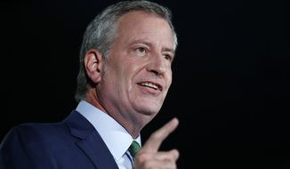 Democratic presidential candidate and New York Mayor Bill de Blasio speaks during an American Federation of State, County and Municipal Employees public service forum in Las Vegas, Saturday, Aug. 3, 2019. (Steve Marcus/Las Vegas Sun via AP)
