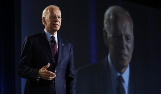 Former Vice President and Democratic presidential candidate Joe Biden speaks during a public employees union candidate forum Saturday, Aug. 3, 2019, in Las Vegas. (AP Photo/John Locher)