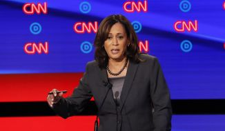 In this July 31, 2019, photo, Sen. Kamala Harris, D-Calif., participates in the second of two Democratic presidential primary debates hosted by CNN in Detroit. (AP Photo/Paul Sancya) ** FILE **