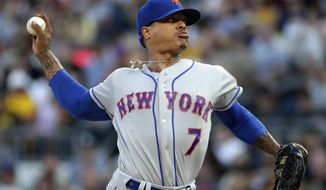 New York Mets starting pitcher Marcus Stroman delivers during the first inning of the team's baseball game against the Pittsburgh Pirates in Pittsburgh, Saturday, Aug. 3, 2019. (AP Photo/Gene J. Puskar)
