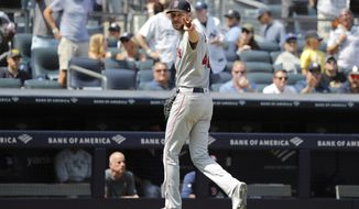 Boston Red Sox Chris Sale reacts to the umpires after being subbed out against the New York Yankees in the fourth inning of a baseball game, Saturday, Aug. 3, 2019, in New York. (AP Photo/Michael Owens)