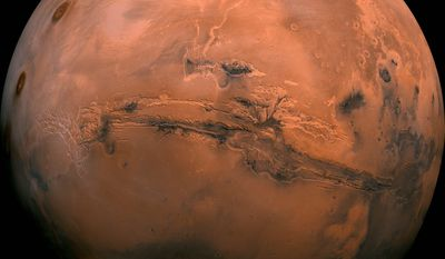 FILE — This image made available by NASA shows the planet Mars. This composite photo was created from over 100 images of Mars taken by Viking Orbiters in the 1970s. In our solar system family, Mars is Earths next-of-kin, the next-door relative that has captivated humans for millennia. The attraction is sure to grow on Monday, Nov. 26 with the arrival of a NASA lander named InSight. (NASA via AP, File)