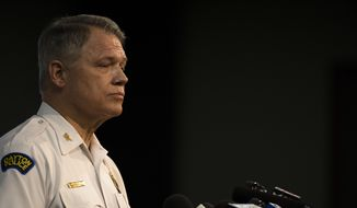 Dayton Police Chief Richard Biehl speaks during a press conference Sunday, Aug. 4, 2019, about a mass shooting that left left multiple people dead and 26 injured along the 400 block of E. Fifth Street, in Dayton, Ohio. (Albert Cesare/The Cincinnati Enquirer via AP)