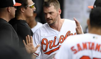 Baltimore Orioles' Trey Mancini reacts in the dugout after he scored on a bases-loaded walk to teammate Chance Sisco during the fifth inning of a baseball game against the Toronto Blue Jays, Sunday, Aug. 4, 2019, in Baltimore. (AP Photo/Nick Wass)