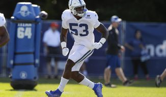 Indianapolis Colts outside linebacker Darius Leonard (53) runs a drill during practice at the NFL team's football training camp in Westfield, Ind., Wednesday, July 31, 2019. (AP Photo/Michael Conroy)