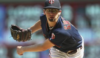 Minnesota Twins pitcher Devin Smeltzer watches a pitch against the Kansas City Royals in the sixth inning of a baseball game Sunday, Aug. 4, 2019, in Minneapolis. (AP Photo/Jim Mone)