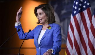 Speaker of the House Nancy Pelosi, D-Calif., is shown here in this file photo. On August 8, 2019, Mrs. Pelosi called on President Trump to convene a special session of the Congress, cutting short the legislature's traditional August recess, to deal with gun control legislation. (Associated Press) **FILE**