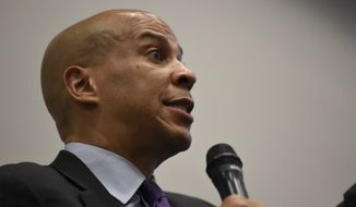 Democratic presidential candidate and New Jersey Sen. Cory Booker addresses a town hall crowd during a campaign trip on Monday, Aug. 5, 2019, in Charleston, S.C. (AP Photo/Meg Kinnard)