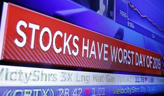 A television screen on the floor of the New York Stock Exchange headlines the day's trading, Monday, Aug. 5, 2019. Stocks plunged on Wall Street Monday on worries about how much President Donald Trump's escalating trade war with China will damage the economy. (AP Photo/Richard Drew)