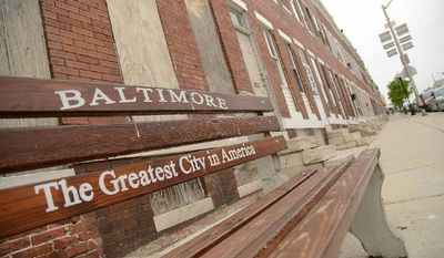A bus stop on Pulaski Avenue, Baltimore, 2015 (Associated Press photo)