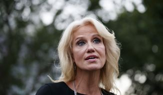 Counselor to the President Kellyanne Conway speaks with reporters at the White House, Monday, Aug. 5, 2019, in Washington. (AP Photo/Alex Brandon)