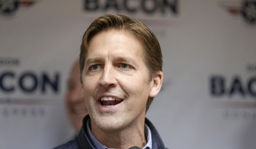 "FILE--In this Nov. 2, 2018, file photo, Sen. Ben Sasse, R-Neb., speaks during a Nebraska Republican Party Get Out The Vote rally tour stop in Omaha, Neb. Sasse will surround himself with many of the state's top Republicans on for a likely announcement that he'll seek a second term, despite angering some party activists with his repeated criticism of President Donald Trump. Sasse was set to appear in Omaha for a ""special announcement"" Monday evening alongside fellow Republican office-holders, including Gov. Pete Ricketts and members of Nebraska's all-Republican congressional delegation. (AP Photo/Nati Harnik, File)"