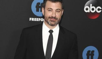 "FILE - In this May 15, 2018 file photo, Jimmy Kimmel attends the Disney/ABC/Freeform 2018 Upfront Party at Tavern on the Green in New York.  Kimmel is among Donald Trump's late-night gadflies, while producer Mark Burnett showcased the future president on ""The Apprentice."" Yet the two are going into business together. Kimmel and Burnett will produce a new ABC game show, ""Generation Gap,"" described by the network as a comedy quiz show that brings family members together to compete as a team. (Photo by Andy Kropa/Invision/AP, File)"