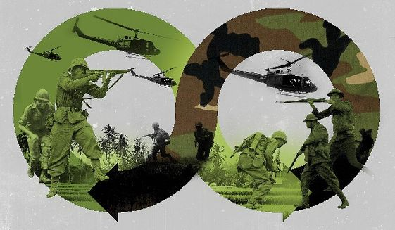 Illustration on endless wars by Linas Garsys/The Washington Times