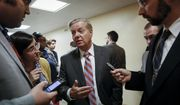 Senate Judiciary Committee Chairman Lindsey Graham, R-S.C., talks to reporters on his way to the Senate chamber for votes on in this July 31, 2019, file photo. In a joint letter dated August 16, 2019, Mr. Graham and Rep. Hal Rogers expressed concern to President Trump about cuts to foreign aid. (AP Photo/J. Scott Applewhite) **FILE**