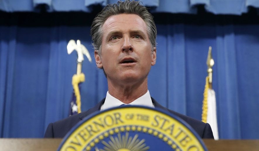 In this July 23, 2019, file photo, California Gov. Gavin Newsom gives a news conference in Sacramento, Calif. (AP Photo/Rich Pedroncelli, File)